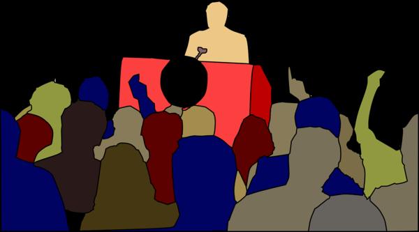 schematische Darstellung einer Gruppe von Menschen, die einem Vortrag zuhört